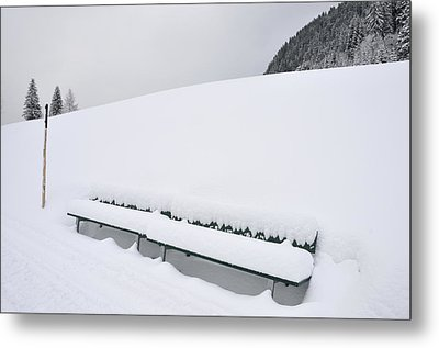 Minimalist Winter Landscape With Lots Of Snow Metal Print by Matthias Hauser