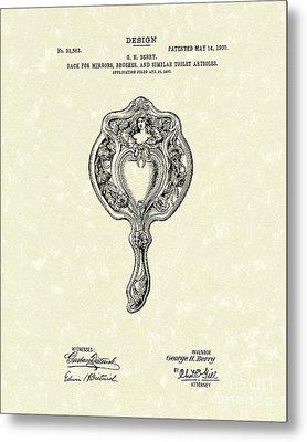 Mirror Back Design II 1907 Patent Art Metal Print by Prior Art Design