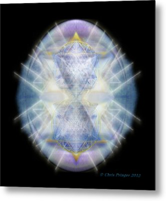 Metal Print featuring the digital art Mirror Emergence II Blue N Teal by Christopher Pringer