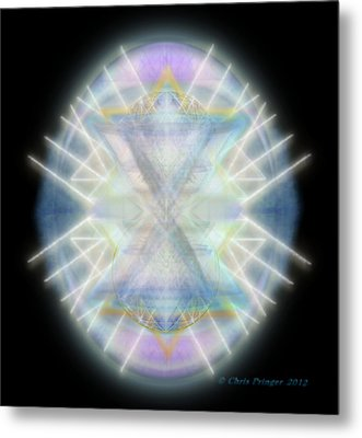 Metal Print featuring the digital art Mirror Emergence IIi Blue Green Teal by Christopher Pringer