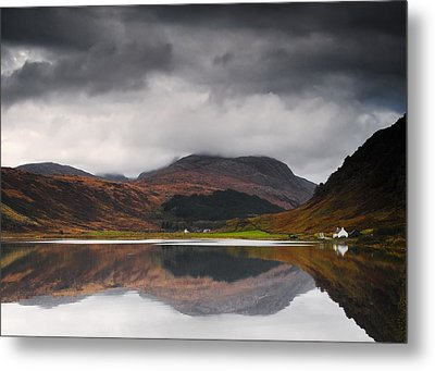 Mirror Image Of Land In The Water, Loch Metal Print by John Short