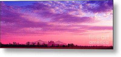 Mississippi River Bridge At Twilight Metal Print