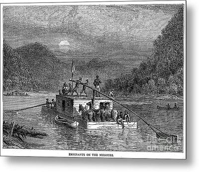 Missouri River: Flatboat Metal Print by Granger