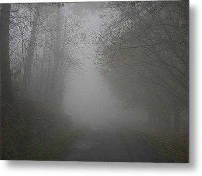 Mist Fog And The Road Metal Print by Georgia Fowler