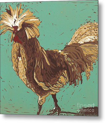 Mister Fowler - Linocut Print Metal Print by Annie Laurie