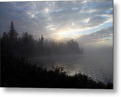 Misty Dawn On Boot Lake Metal Print by Larry Ricker