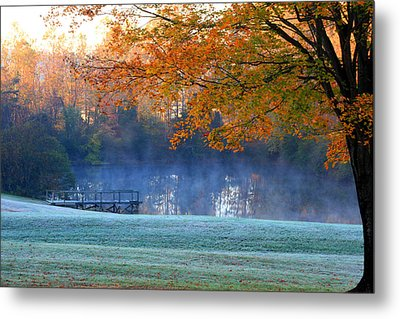 Misty Morning At The Lake Metal Print
