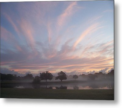 Misty Morning Sunrise Metal Print