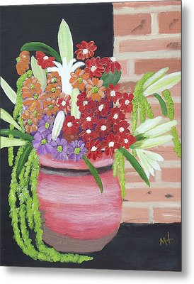 Metal Print featuring the painting Mixed Flowers In Orange Crock by Margaret Harmon