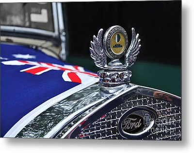 Model A Ford - Hood Ornament And Badge Metal Print by Kaye Menner