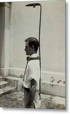 Model Wears A Slave Bell Rack, A Used Metal Print