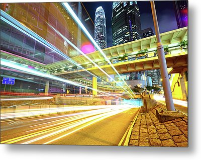 Modern City At Night Metal Print by Leung Cho Pan