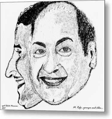 Mohammed Rafi Sketch Younger And Older Metal Print by Ashok Naraian