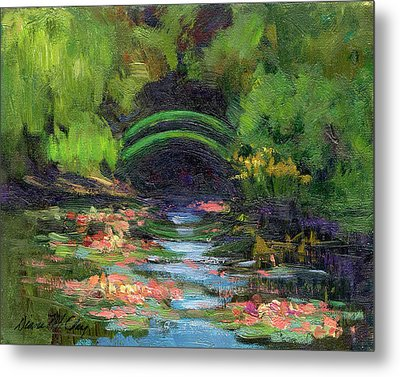 Momet's Water Lily Garden Toward Evening Metal Print by Diane McClary