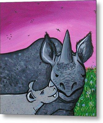 Momma And Baby Rhino Metal Print by Jera Sky