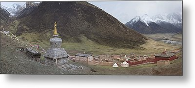 Monastery Buildings In Mountain Valley Metal Print by Phil Borges