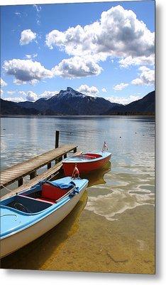 Mondsee Lake Boats Metal Print by Lauri Novak