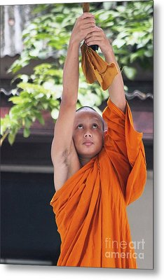 Metal Print featuring the photograph Monk In The Bell Tower #2 by Nola Lee Kelsey