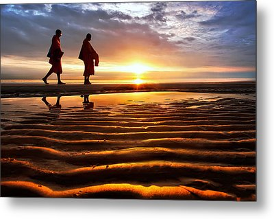 Monk Receive Food Routine Huahin Beach Thailand Metal Print by Arthit Somsakul