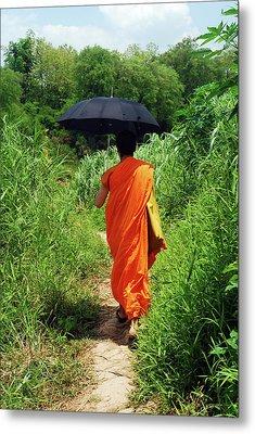Monk Walking, Luang Prabang, Laos Metal Print by Thepurpledoor
