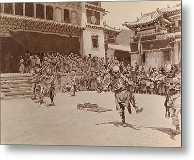 Monks Dressed As Departed Spirits Metal Print by Dr Joseph F Rock