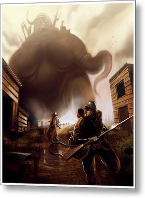 Metal Print featuring the digital art Monster Attack by Michael Myers