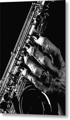 Monster Hand Saxophone Metal Print by M K  Miller