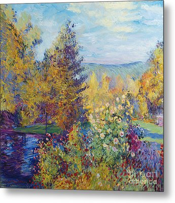 Montgeron  Garden Sur Les Traces De Monet  Metal Print by David Lloyd Glover