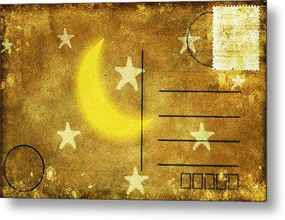 Moon And Star Postcard Metal Print by Setsiri Silapasuwanchai
