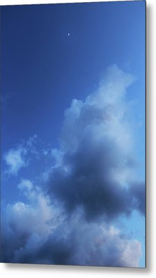 Moon In A Cloudy Sky At Twilight Metal Print by Gal Ashkenazi