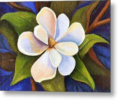 Moon Light Magnolia Metal Print by Elaine Hodges