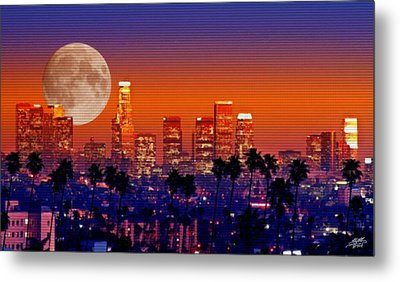 Moon Over Los Angeles Metal Print by Steve Huang