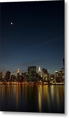 Moon Over Manhattan Metal Print by Photographs by Vitaliy Piltser