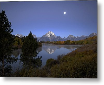 Metal Print featuring the photograph Moon Over Oxbow Bend The  Grand Tetons by Gordon Ripley