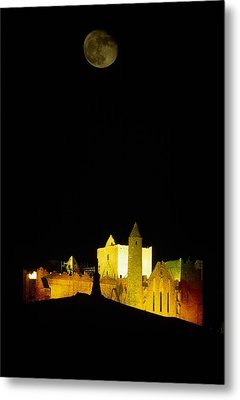 Moon Over Rock Of Cashel, Co Tipperary Metal Print by The Irish Image Collection