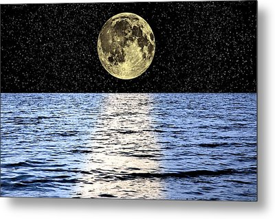 Moon Over The Sea, Composite Image Metal Print by Victor De Schwanberg
