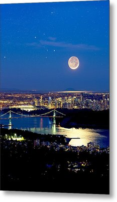Moon Over Vancouver, Time-exposure Image Metal Print by David Nunuk