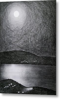 Moon Reflection On The Sea Metal Print