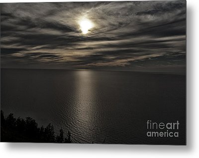 Moonglow Over Lake Michigan Metal Print by Christopher Purcell