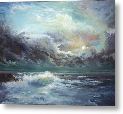 Metal Print featuring the painting Moonlight At The Ocean by  Luczay