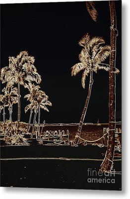 Moonlit Palms Metal Print by Rene Triay Photography