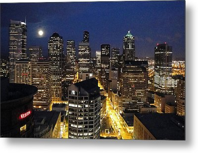 Moonlit Seattle Skyline Metal Print