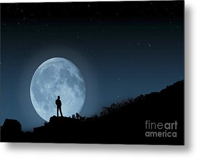 Metal Print featuring the photograph Moonlit Solitude by Steve Purnell