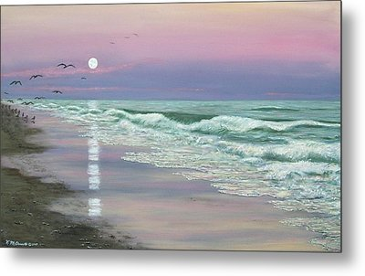 Moonrise - Golden Mile Metal Print