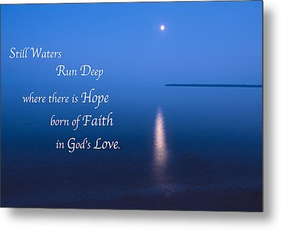 Moonrise On Lake Superior With Quote Metal Print