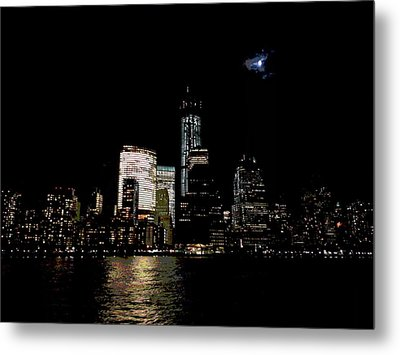 Moonrise Over Freedom Tower Metal Print by Lewis Mengersen