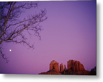 Moonrise Over Oak Creek Canyon Metal Print by Stockbyte