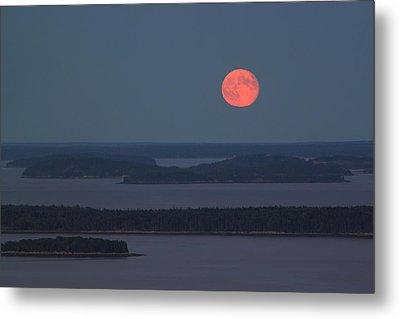 Moonrise Over Penobscot Bay From Camden Hills Metal Print by John Burk
