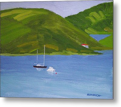 Moored Ketch At Hassel Island Metal Print by Robert Rohrich