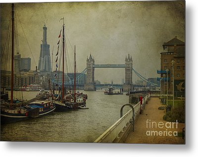 Metal Print featuring the photograph Moored Thames Barges. by Clare Bambers